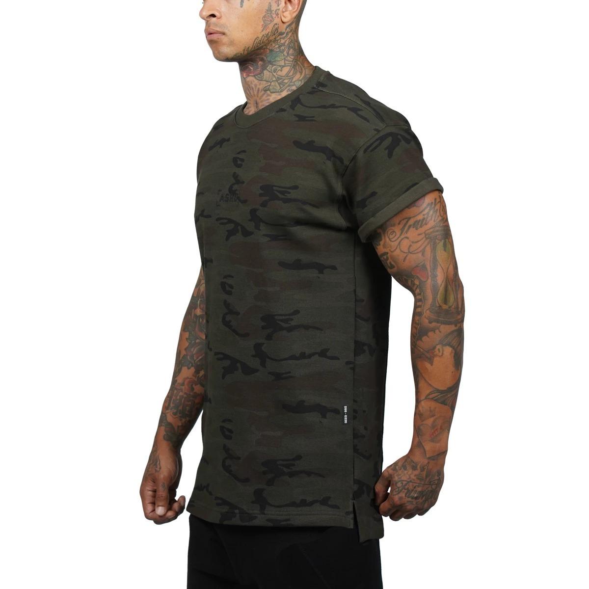 【ASRV】CottonPlus™ メッシュバックロールスリーブTシャツ - Dark Camo