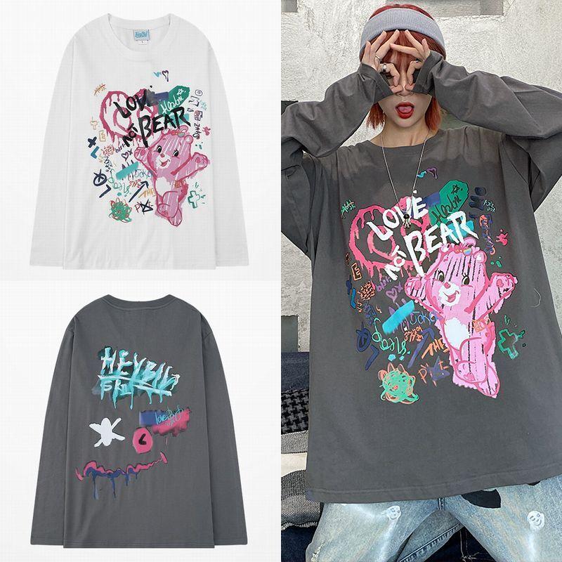 ユニセックス 長袖 Tシャツ メンズ レディース 落書き風 クマ プリント ラウンドネック オーバーサイズ 大きいサイズ ストリート
