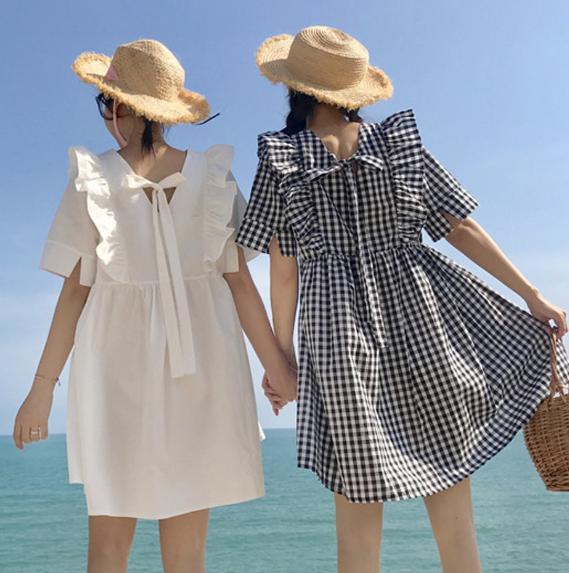 【送料無料】双子コーデにも✩チュニックフリルワンピース ミニ丈 リボン