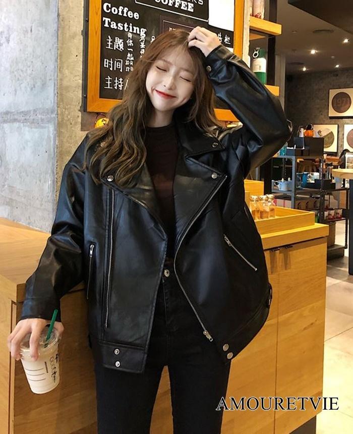 2019 秋 冬 レディース 新作 アウター ジャケット レザー PU 黒 ブラック シック オルチャン 韓国ファッション 1022