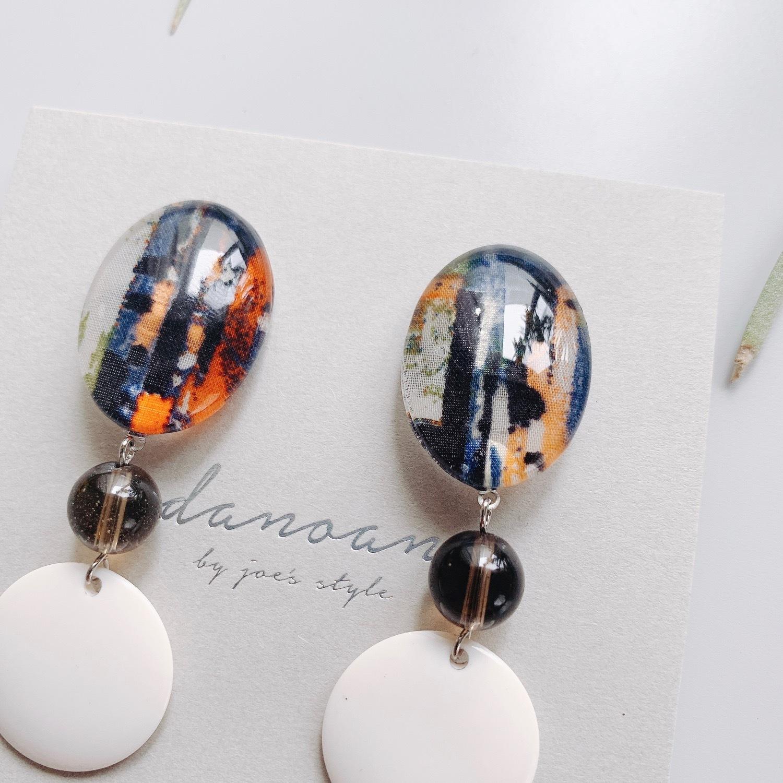 """ Earrings NO.danoan-27″ リバティ×天然石×フランスビーズ"