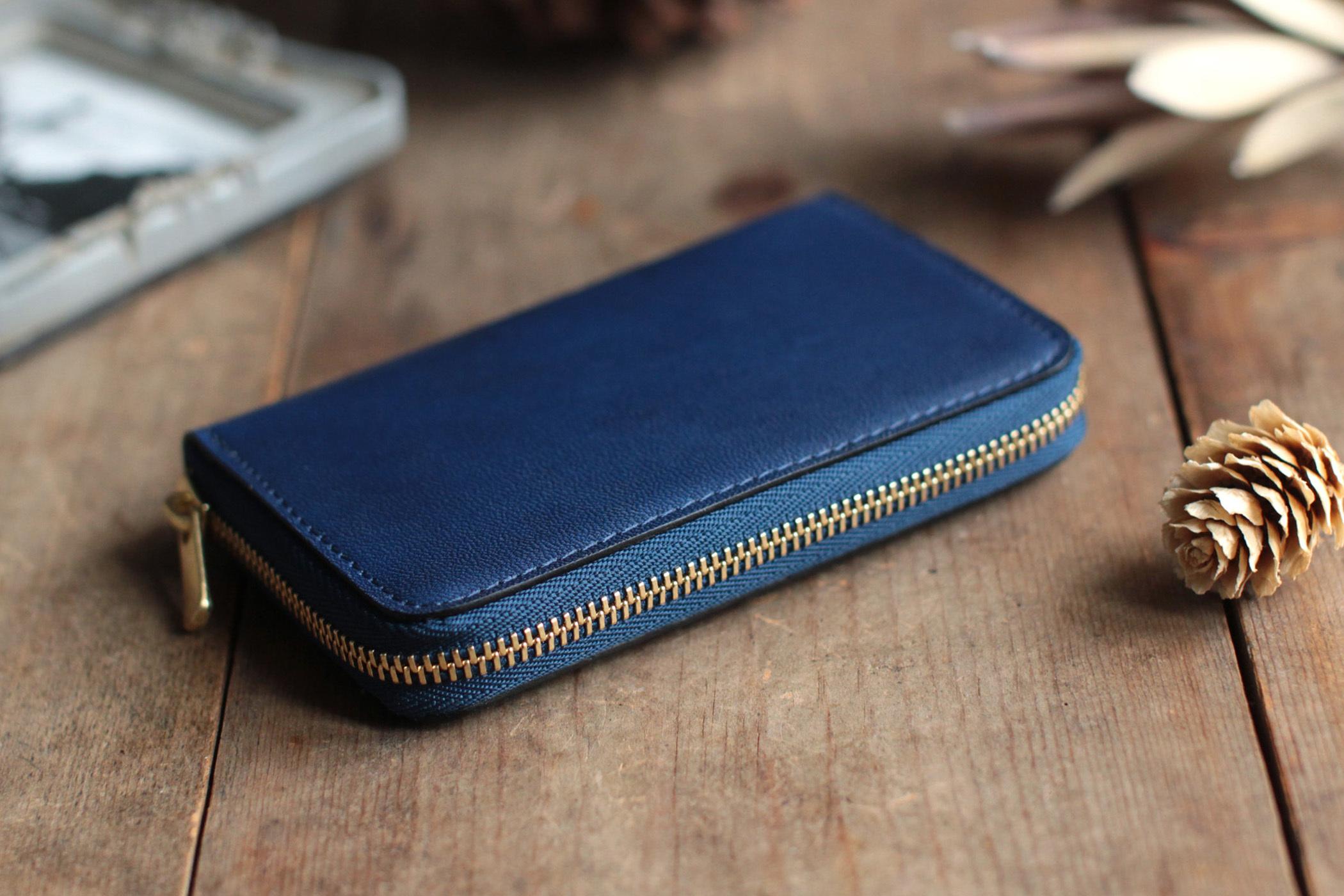藍染革[migaki] ×オイルレザー コインケース