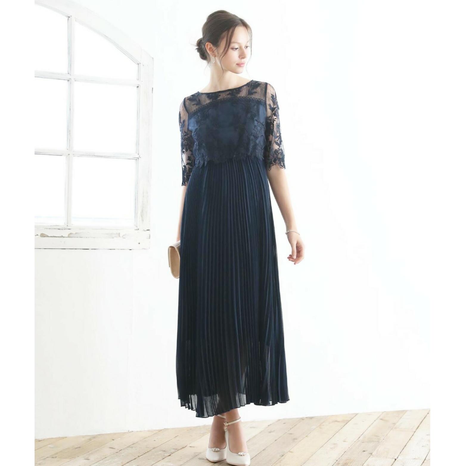 【ネイビー】刺繍レース切り替えプリーツスカートロングワンピース 袖付きドレス