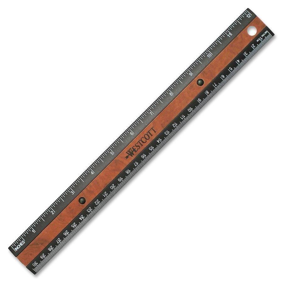 Westcott リサイクルプラスチック 30cm定規 ミリ、1/16インチ表記
