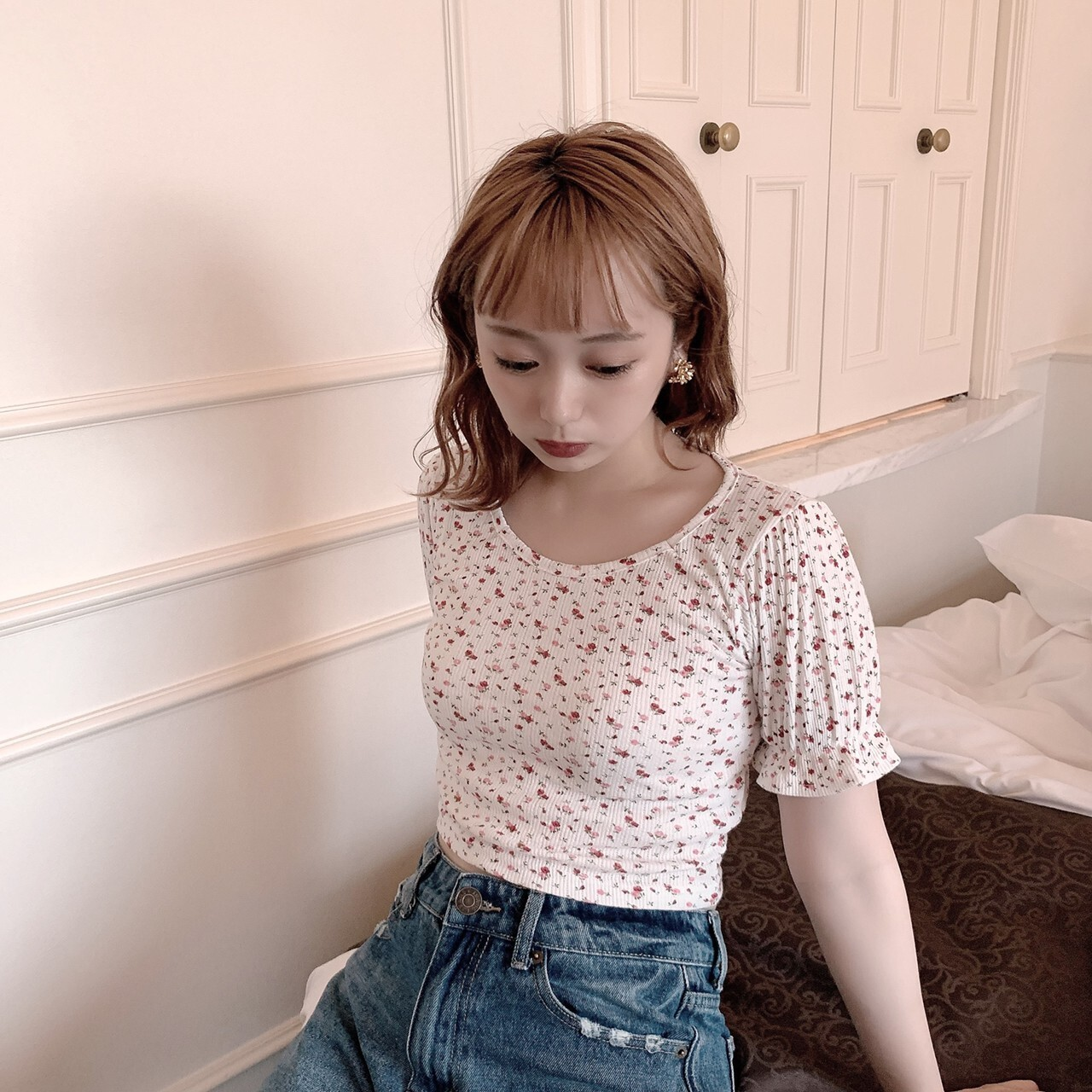 【meltie】cropped flower tops