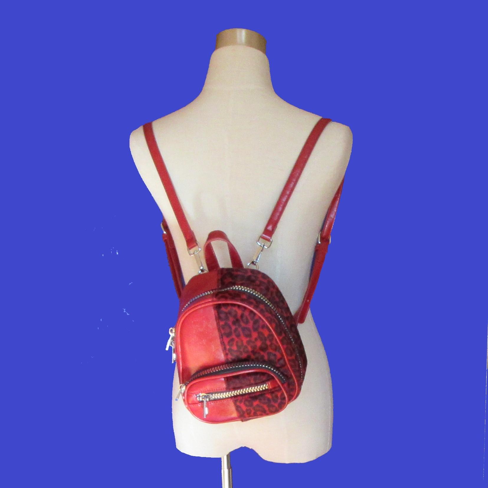 リュックサック ミニ レオパード柄 赤 韓国製 中古