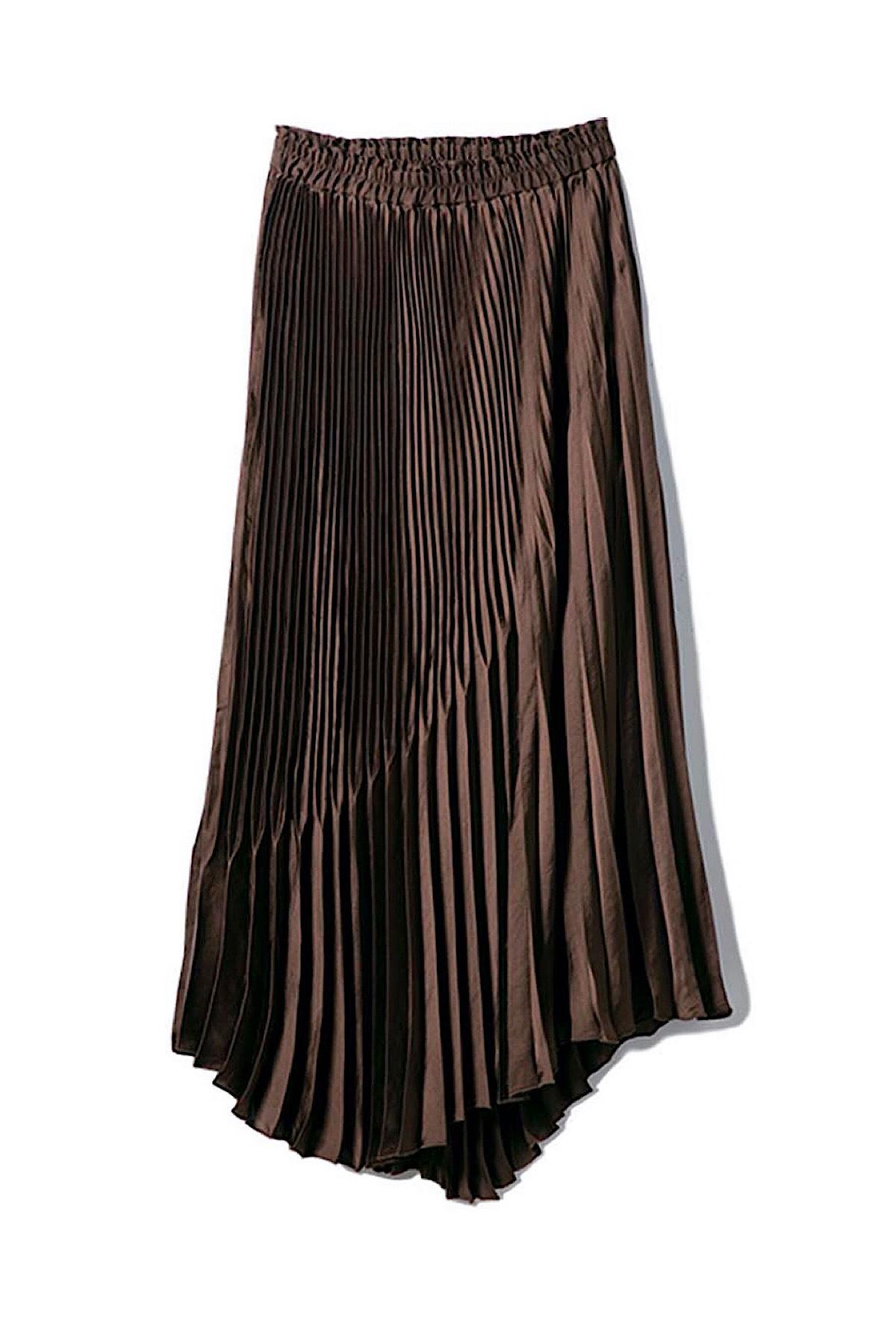 ランダムプリーツスカート <ブラウン>