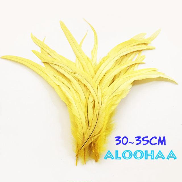 単色ロングフェザー 【イエロー】30~35cm タヒチアン 衣装 材料 ルースターテール 染め 羽根