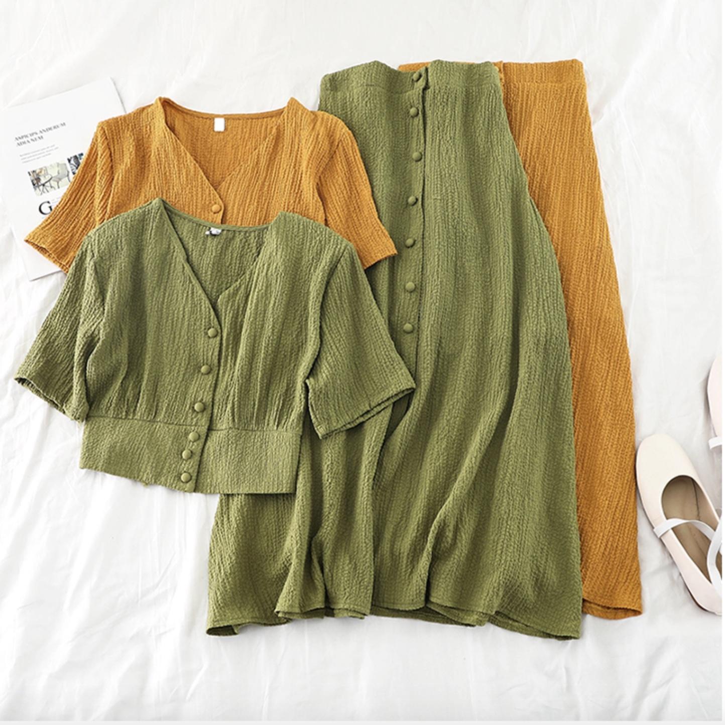 セットアップ シャツ+スカート セット 3カラー su1023