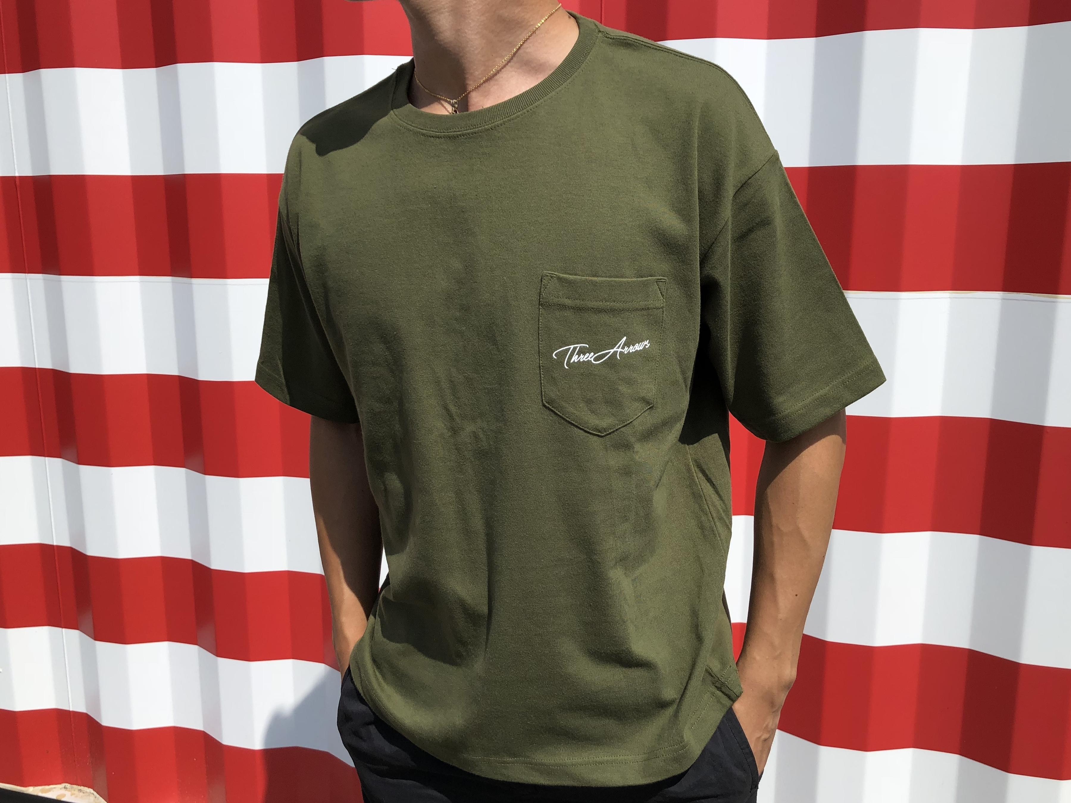 【7/10 21:00 Re stock】ThreeArrows ポケット付きBIGシルエットTシャツ(khaki)