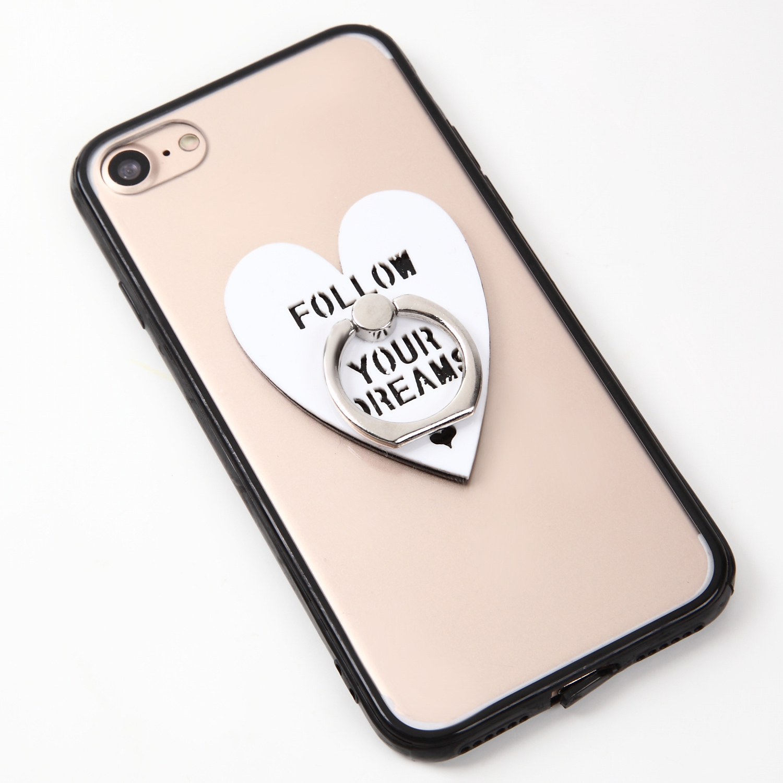 【即納★送料無料】縁ブラッククリアケースにハートのバンカーリング付iPhoneケース