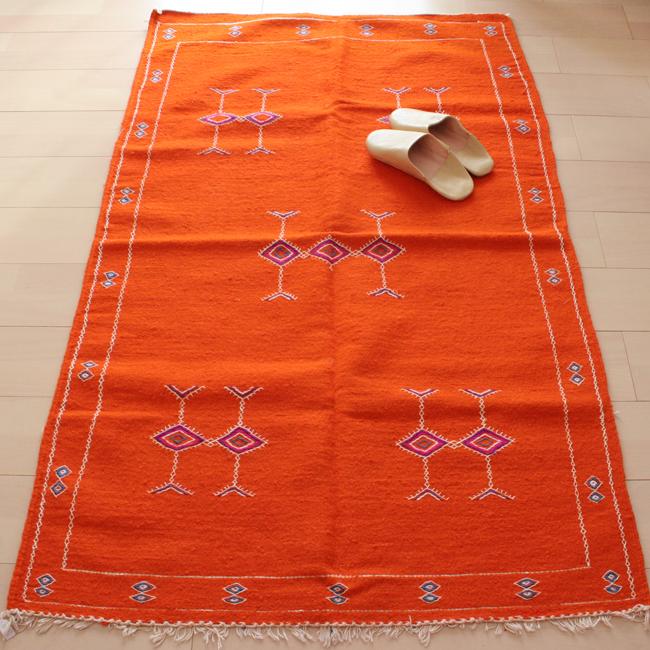 モロッコ刺繍ラグ / Orange /181b/ MOROCCO