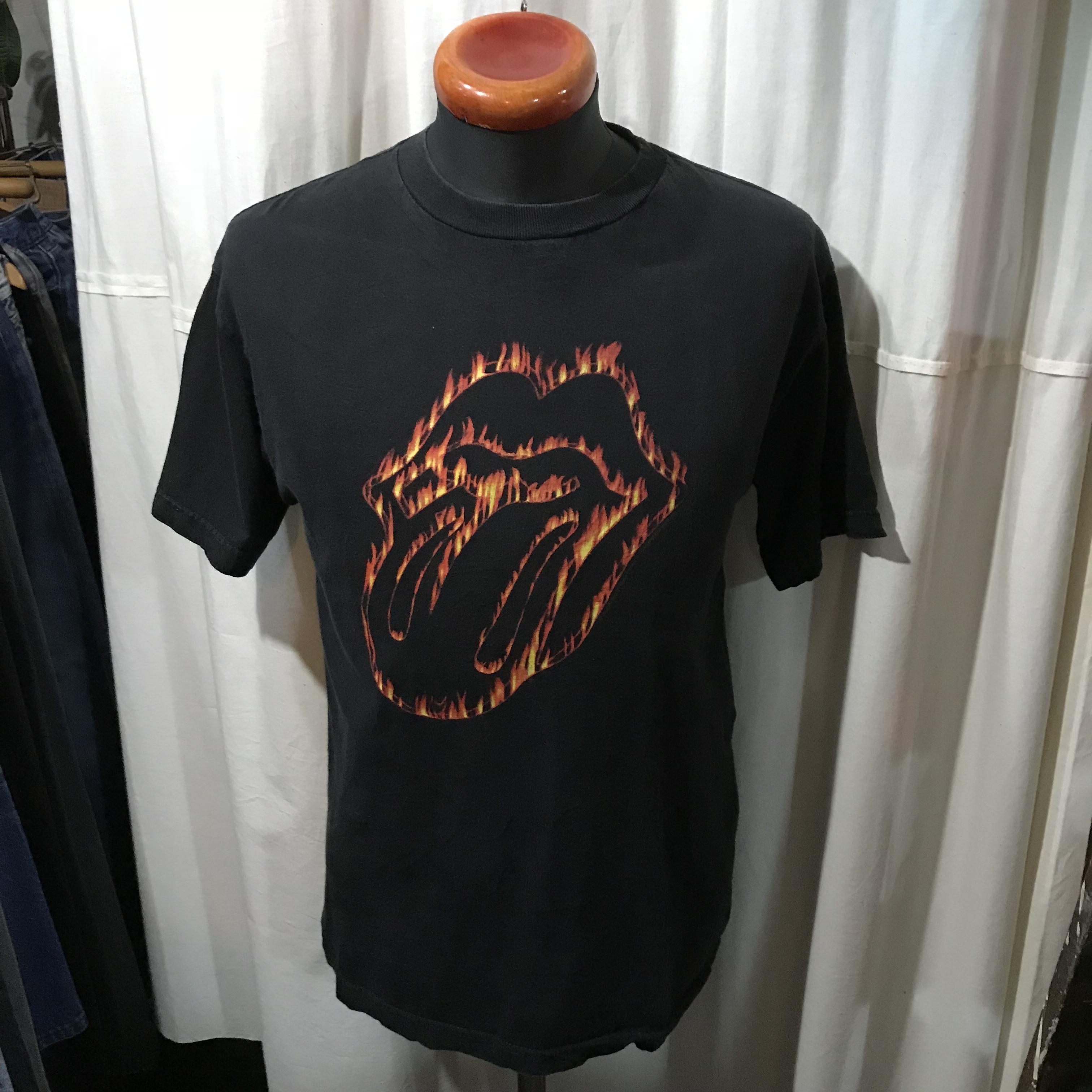 Rolling Stones ローリングストーンズ バンドTシャツ ベロ ファイアーパターン メンズM