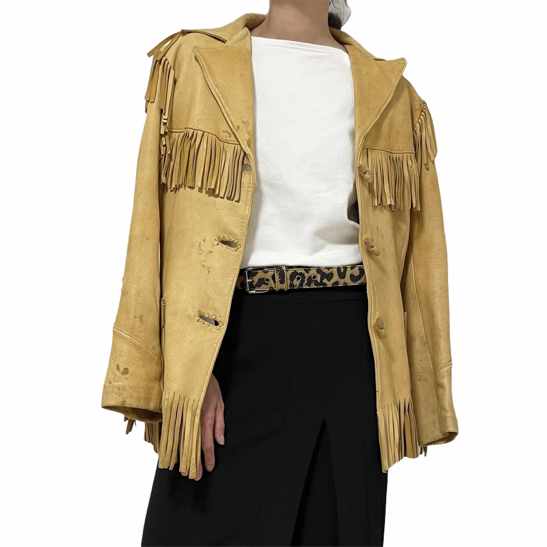 70's BUCKSKIN LEATHER SHOP Deer Leather Fringe Jacket