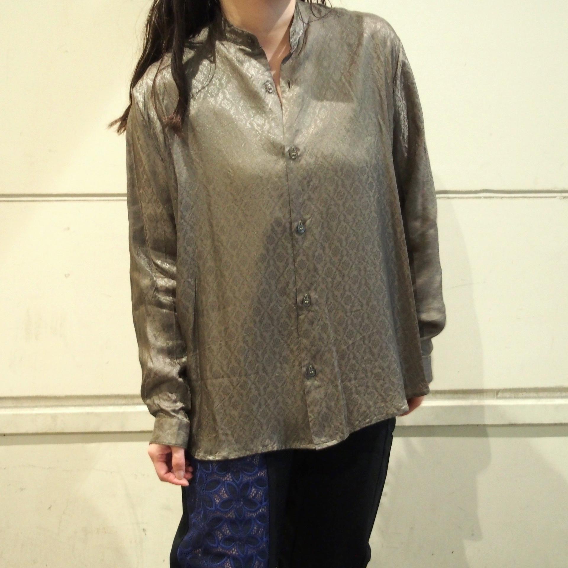【hippiness】cupro A line shirt (Jacquard9khaki)/【ヒッピネス】キュプラ Aライン シャツ(ジャガード9カーキ)