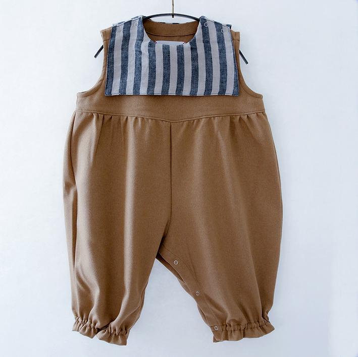 michirico ミチリコ Stripe sailor salopette baby col.:Beige size:SS(80-90)