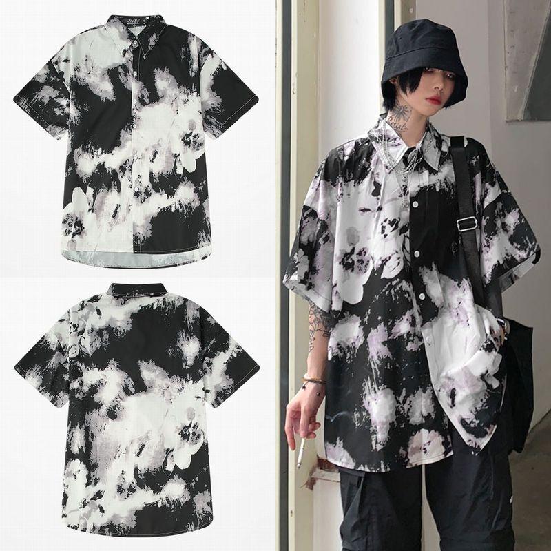 ユニセックス シャツ 半袖 メンズ レディース タイダイ染め 絞り染め オーバーサイズ 大きいサイズ ルーズ ストリート