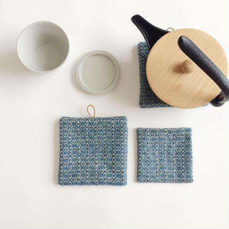 Coaster&Potmat Flower Linen Indigo blue
