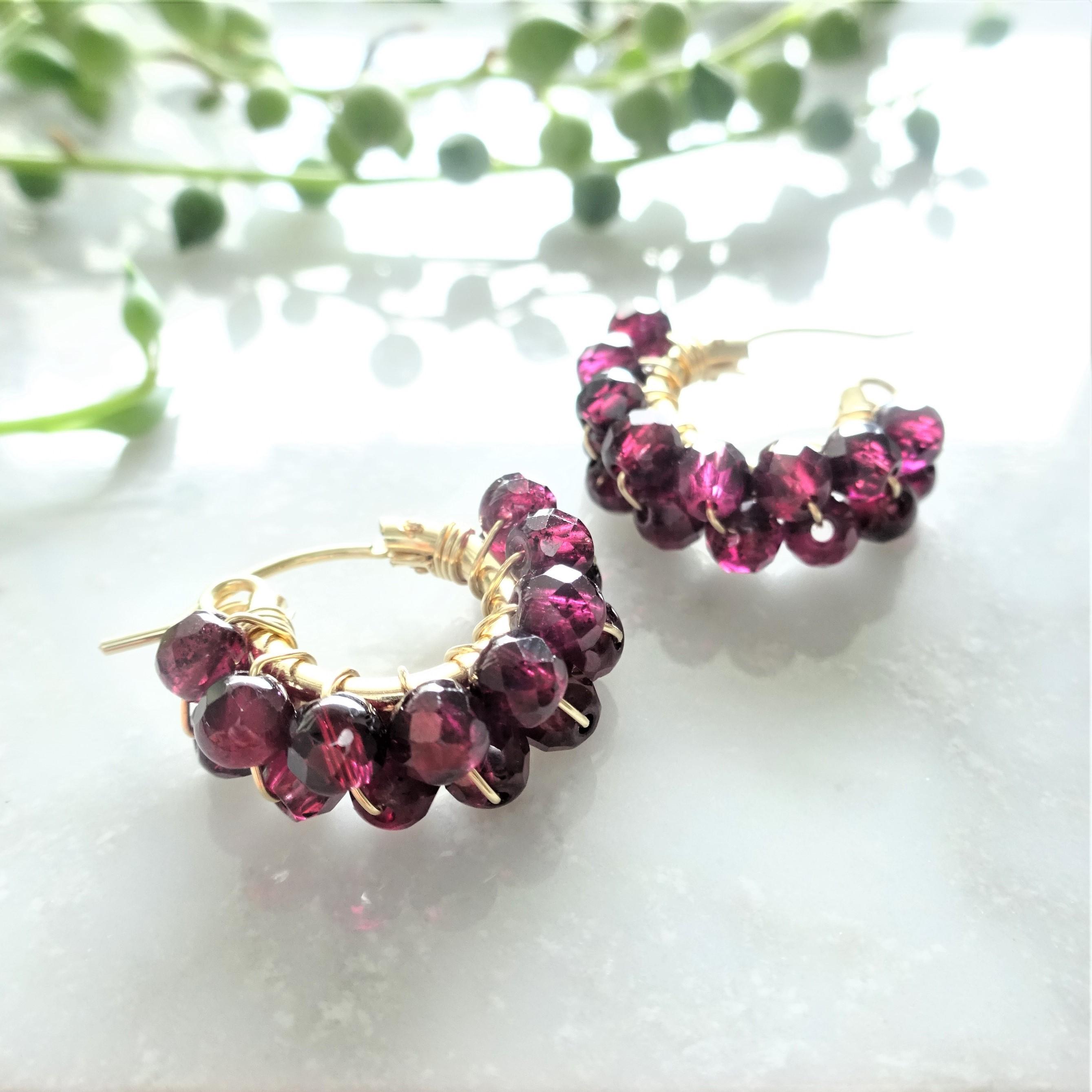送料無料 14kgf♡AAA Garnet wrapped pierce/earring