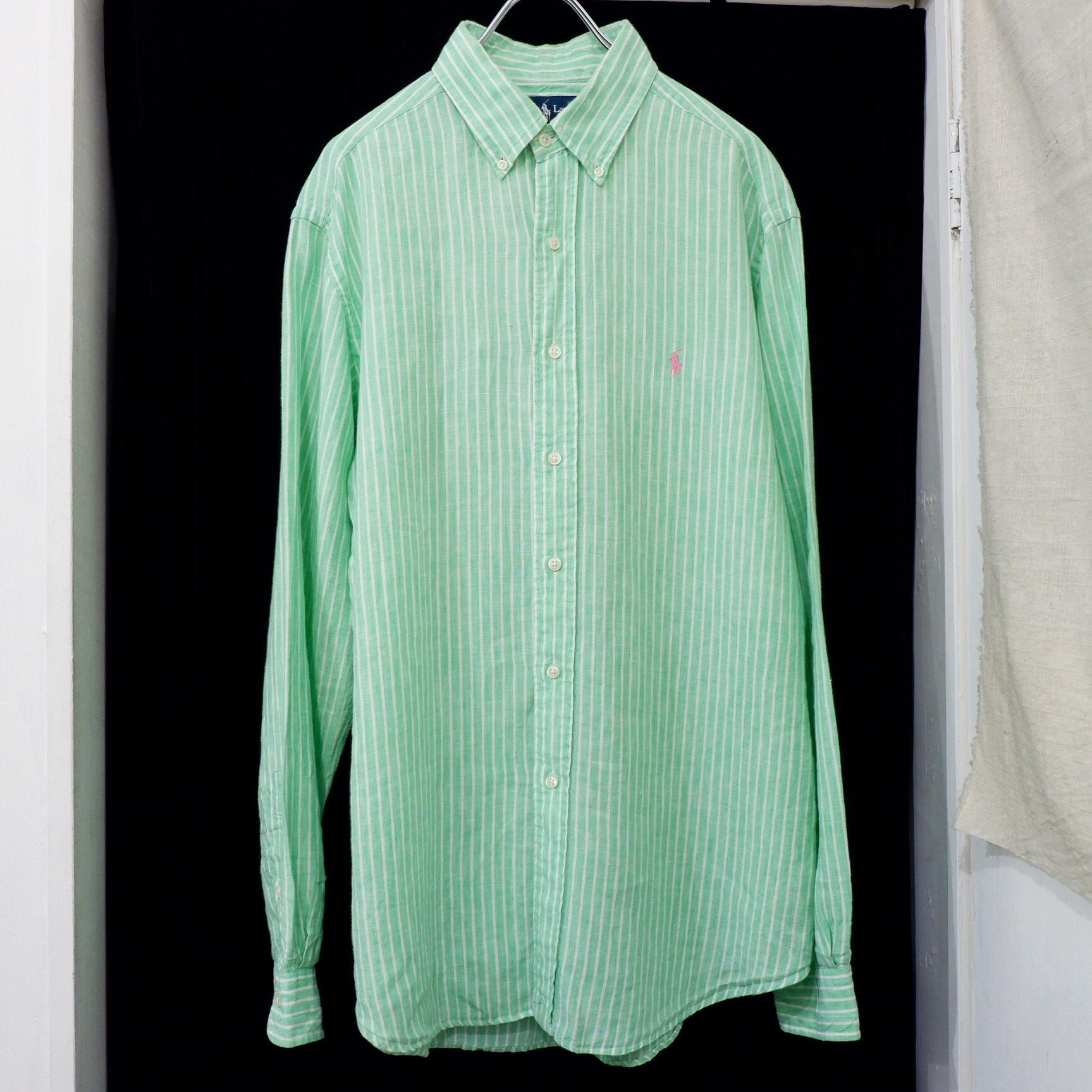 アメリカ古着 ralph lauren ストライプ リネンシャツ