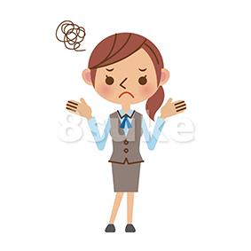 イラスト素材:困った表情のOL・事務職の女性(ベクター・JPG)