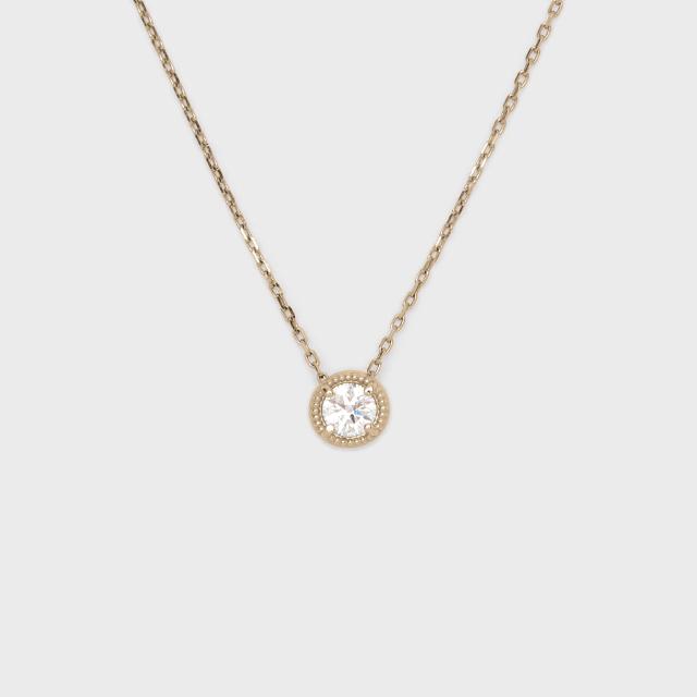 ENUOVE frutta Diamond Necklace K18YG(イノーヴェ フルッタ 0.25ct K18イエローゴールド ミルグレイン ダイヤモンドネックレス  スライドアジャスターチェーン)