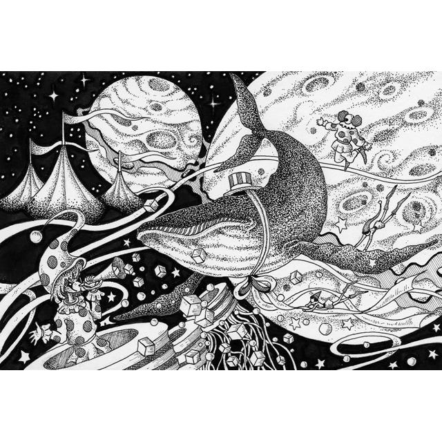 手描きイラストペン画インクドローイングモノクロ作品制作