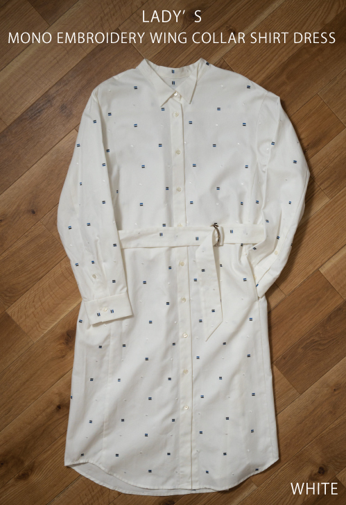 【MONO×MIDDLA】 LADY'S MONO EMBROIDERY WING COLLAR SHIRT DRESS