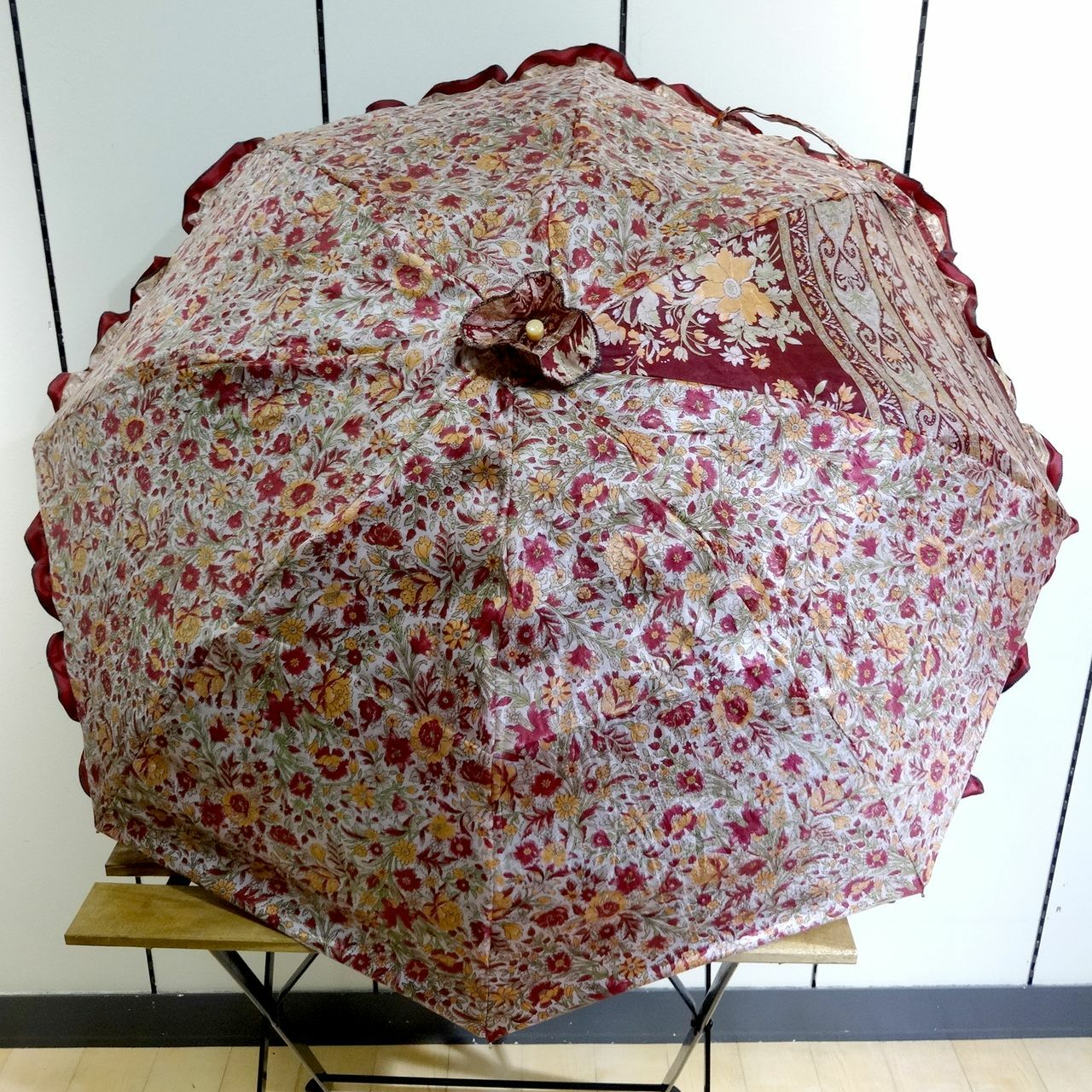 saripn-003 新型シルクサリー パラソルカバー【プディレッド】折畳傘本体・共布バッグ付き