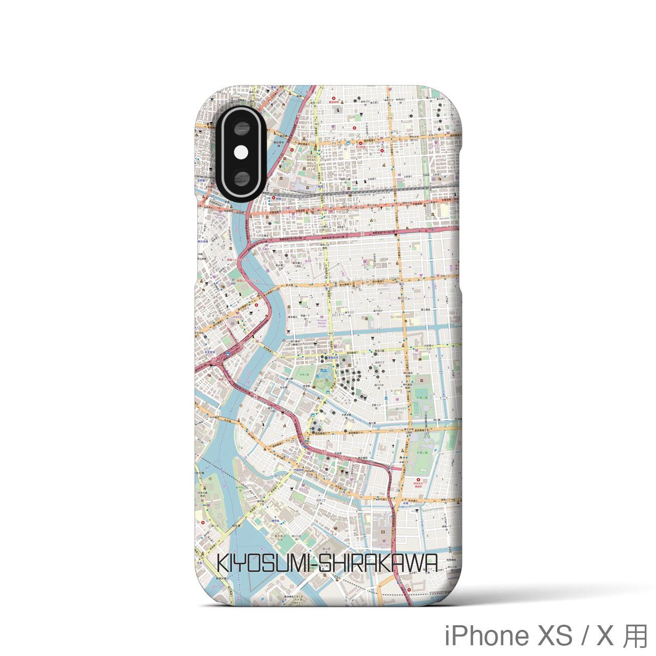 【清澄白河】地図柄iPhoneケース(バックカバータイプ・ナチュラル)