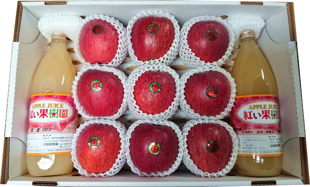 青森県三戸郡南部町産 りんご・りんごジュース詰め合わせセット【サンふじ】(送料込)