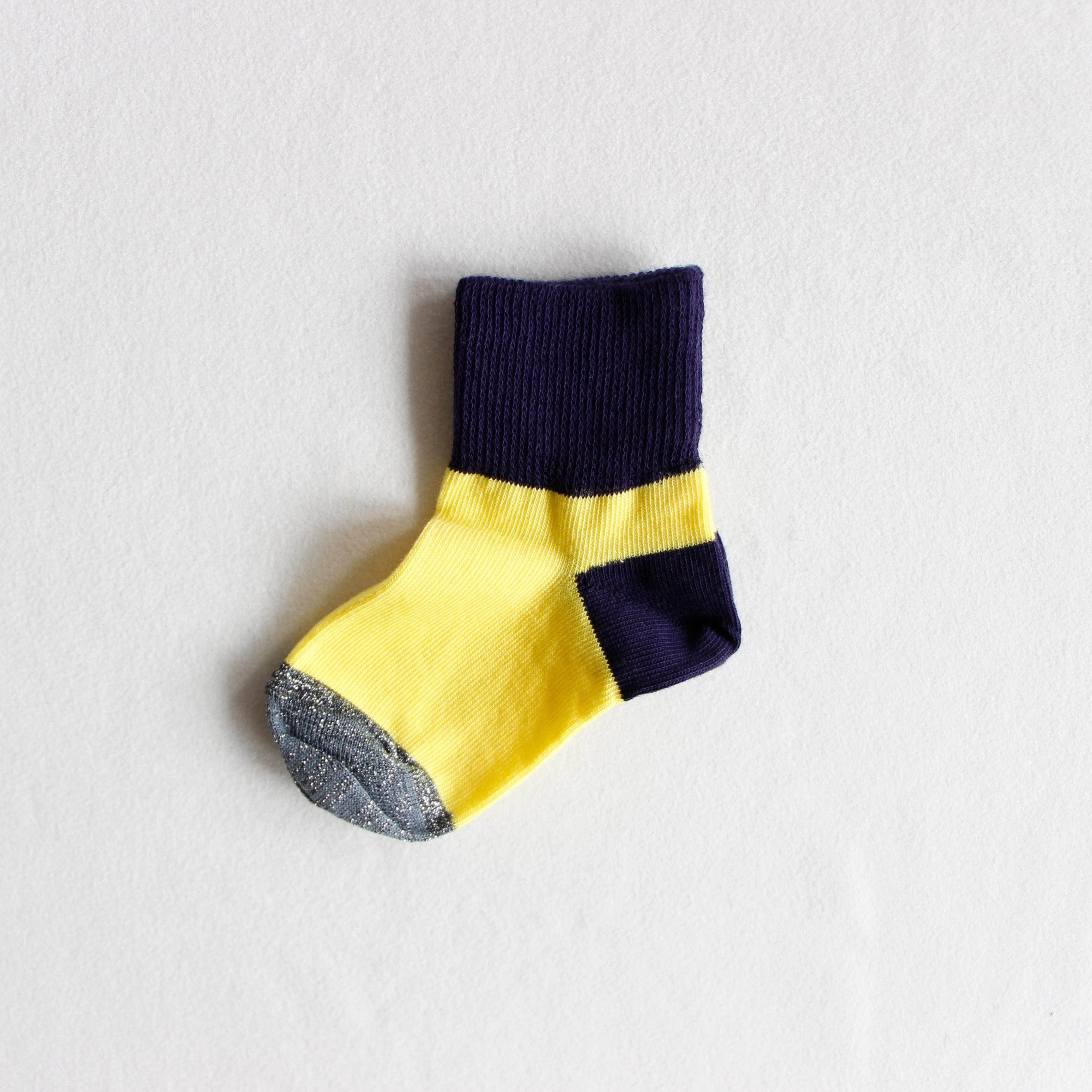 《suis moi》3 tone short socks / yellow × black / 4-10Y