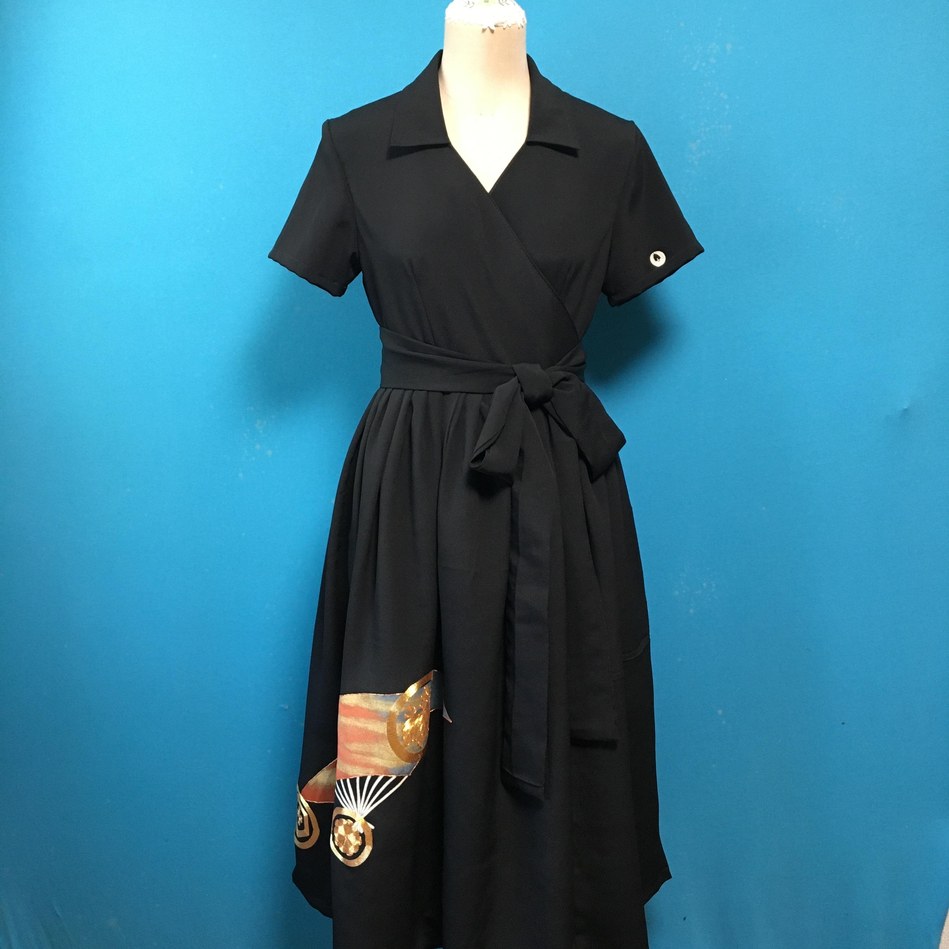 Vintage black 着物ラップワンピース 扇