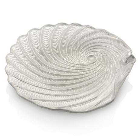 IVV shellmotif パールホワイト 21cmガラスプレート Saint Tropez【イタリア製ガラス食器】