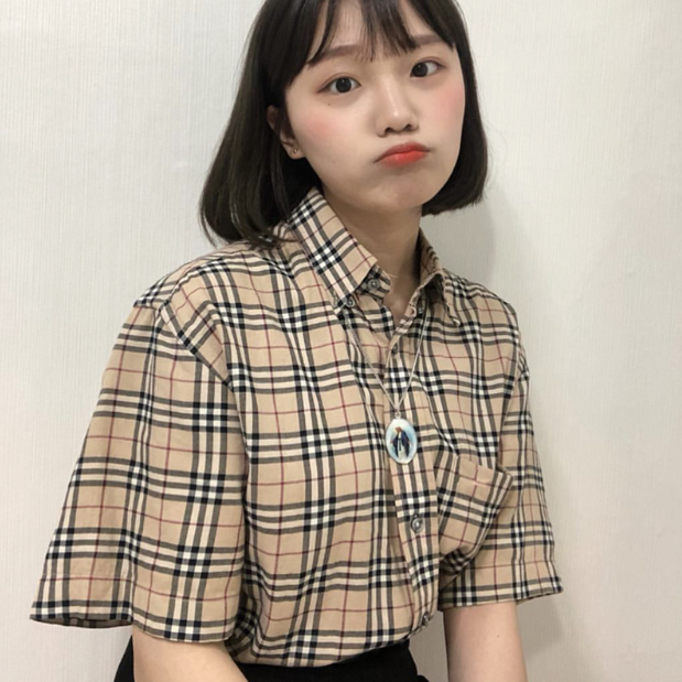 【送料無料】人気の チェック柄♡ 半袖 カジュアル シャツ