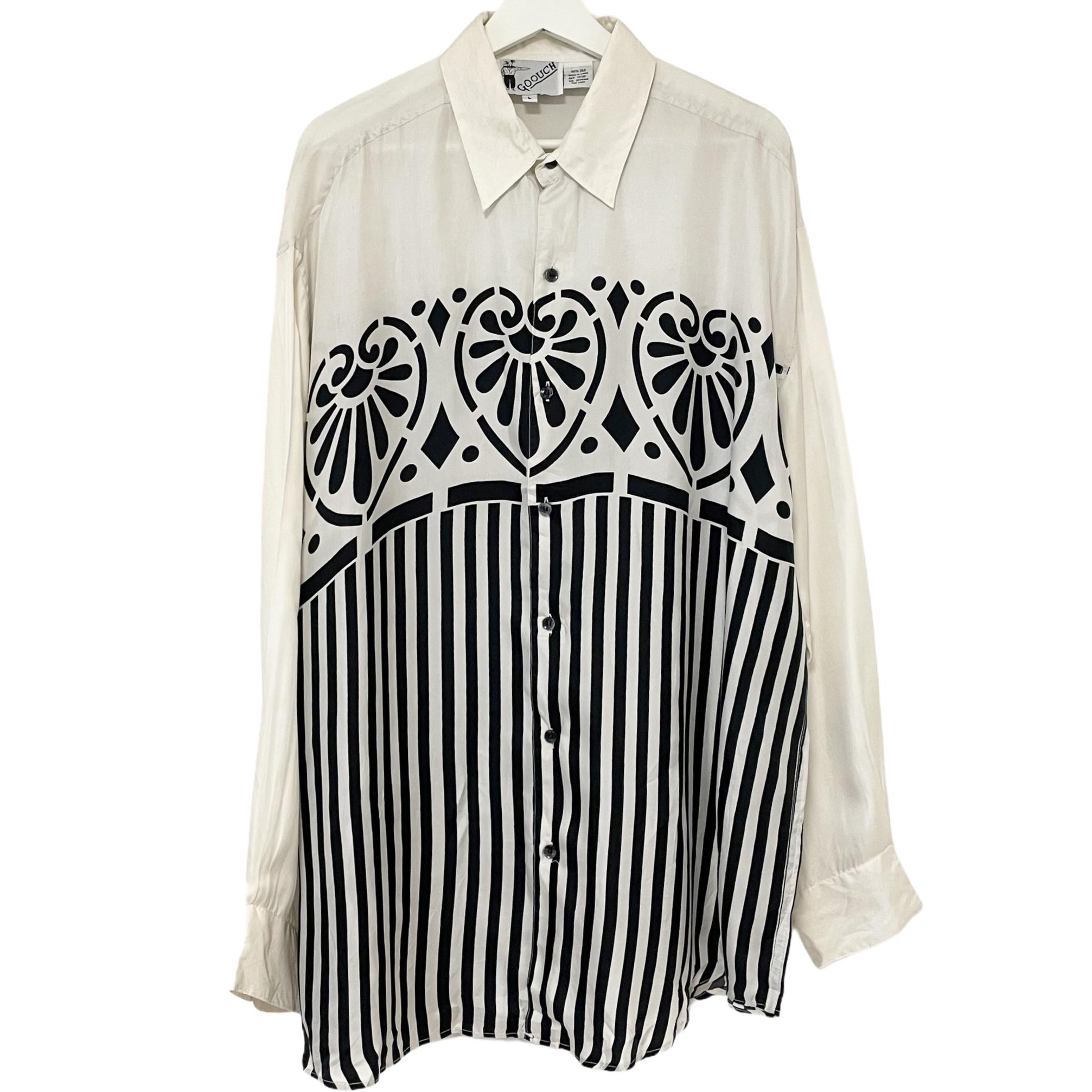 Dead Stock 90's GOOUCH Silk Shirt 【 White × Black 】
