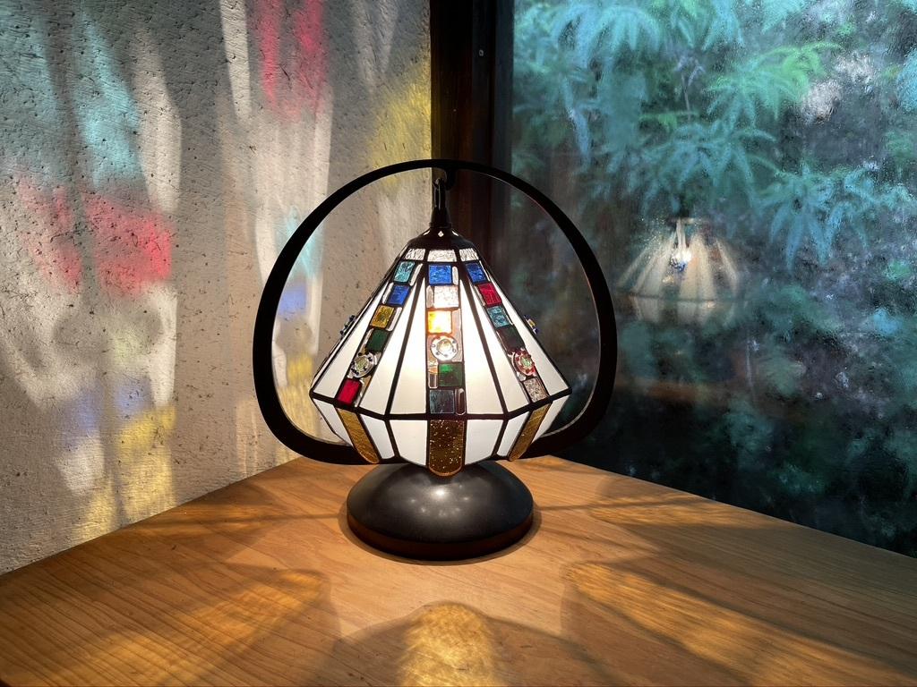 和灯 キューブカラフル(ステンドグラスのテーブルランプ) 01020116