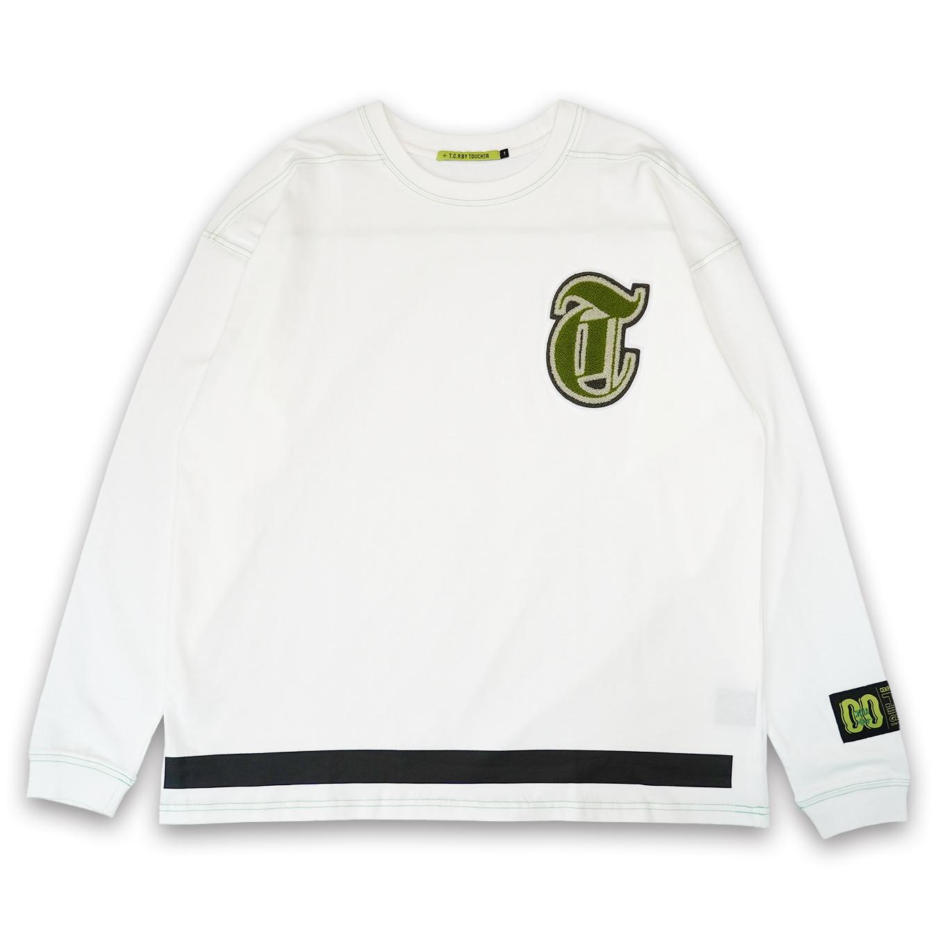 T.C.R CHENILLE LOGO L/S TEE - WHITE