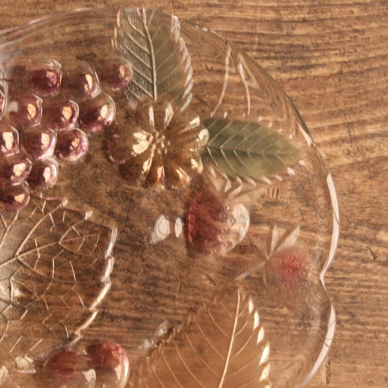 大塚ガラス 色々フルーツ レトロガラス皿  在庫4枚