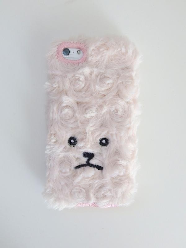 トイプードルiPhone5/5c/5sカバー巻き毛【マットピンク】