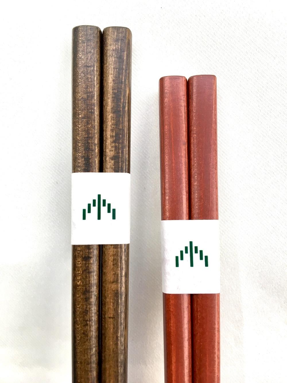 輪島の拭漆四方箸 ペア 桐箱付き