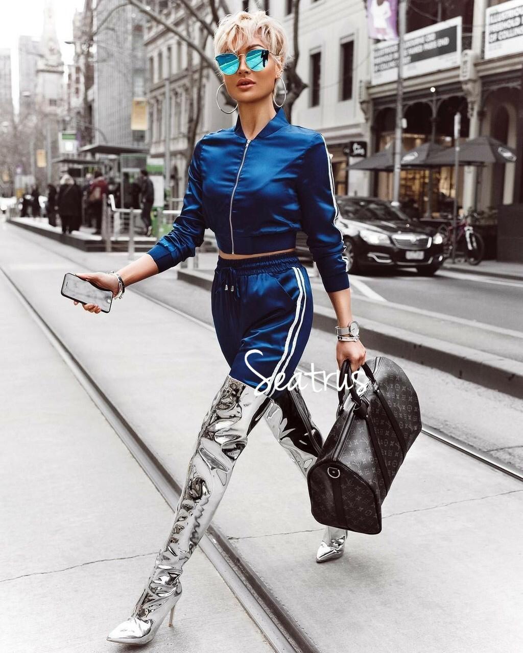 メタリック シルバー ニーハイブーツ 2017aw 海外セレブ 海外ファッション Laファッション La インポート