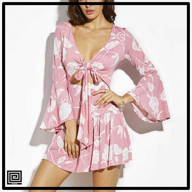 ピンクAラインフレアスリーブミニドレス