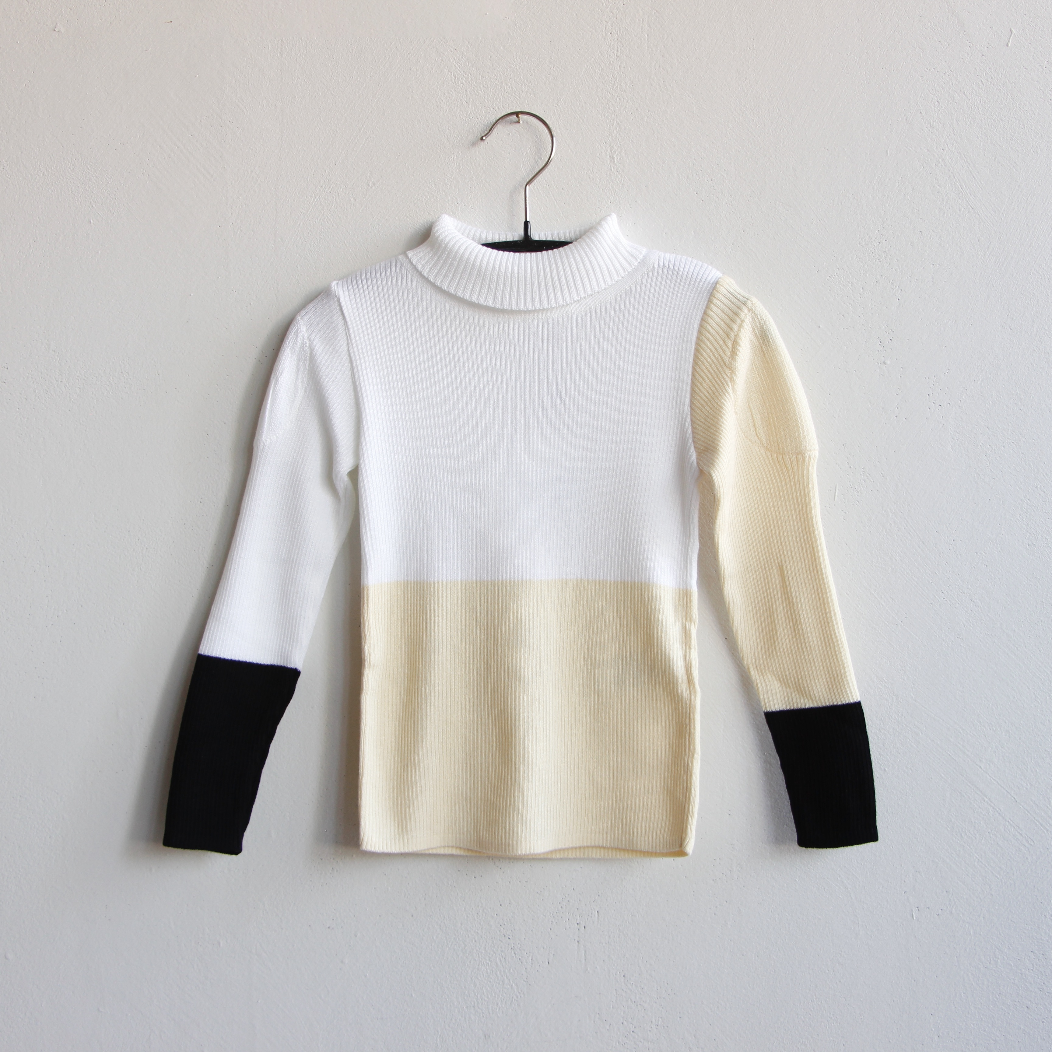 《frankygrow 2020AW》MULTI COLOR SWELL SHOULDER HIGH-NECK KNIT / white × ivory × black / S・M・L