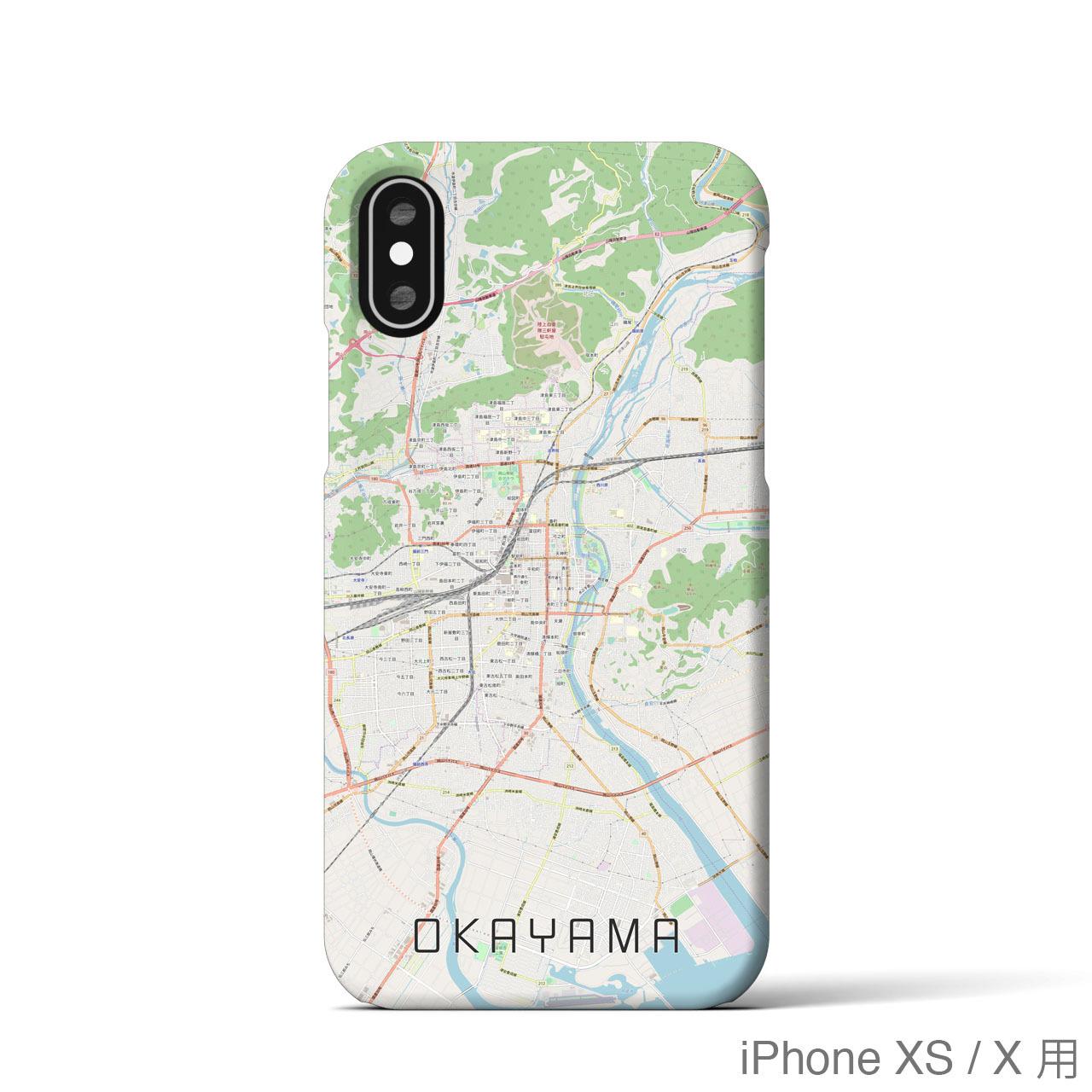 【岡山】地図柄iPhoneケース(バックカバータイプ・ナチュラル)