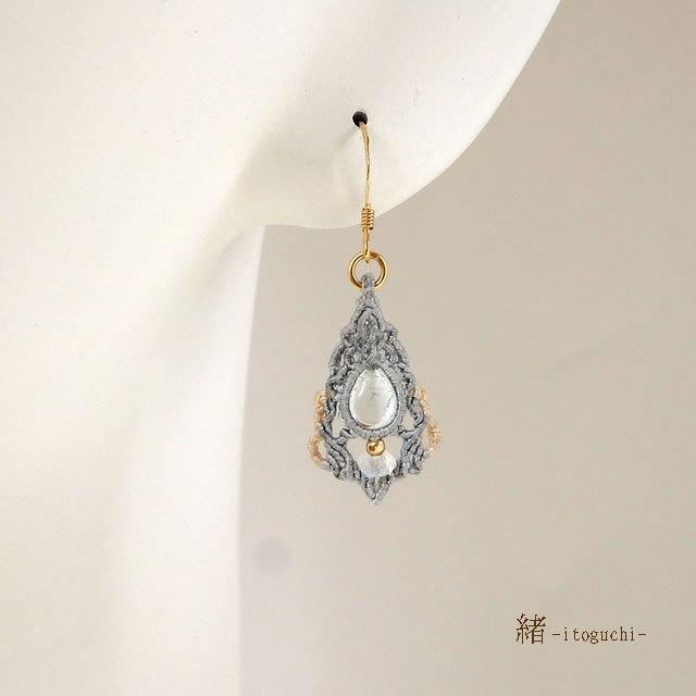 【アクアマリン】絹糸のマクラメピアス (1)