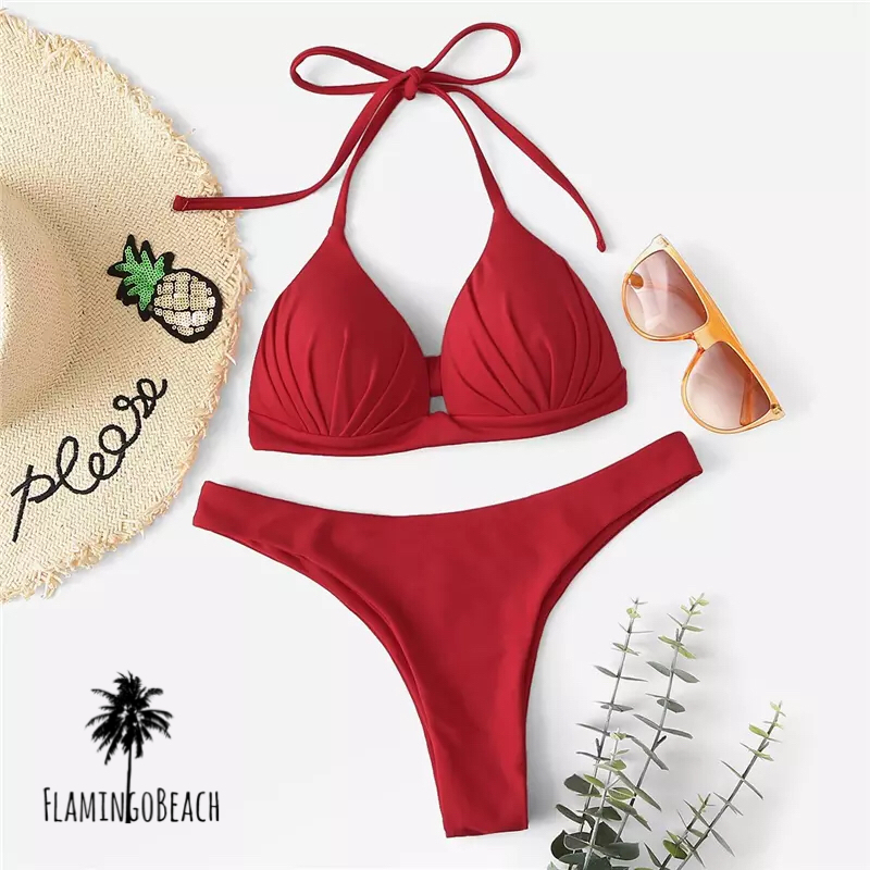 【FlamingoBeach】red simple Brazilian bikini ブラジリアンビキニ