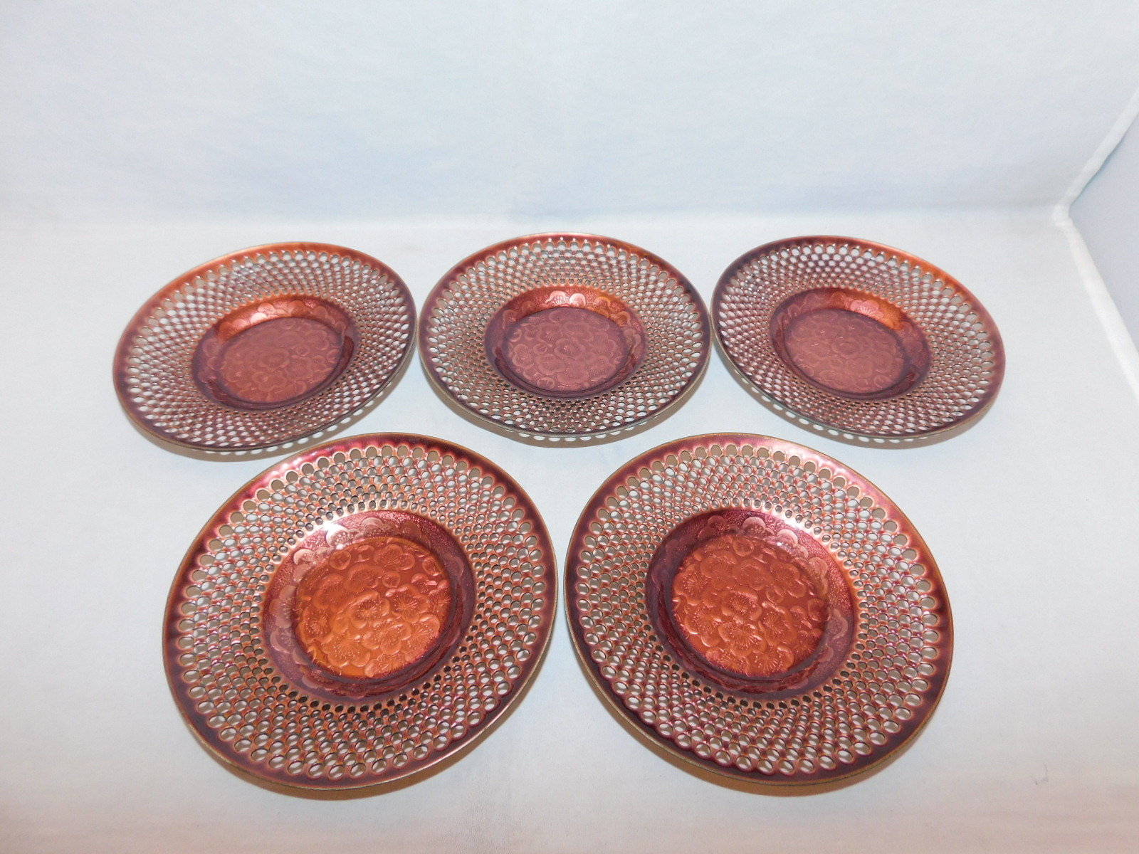 七宝梅茶托5客) cloisonné enamel Japanese tea five saucers (No10)