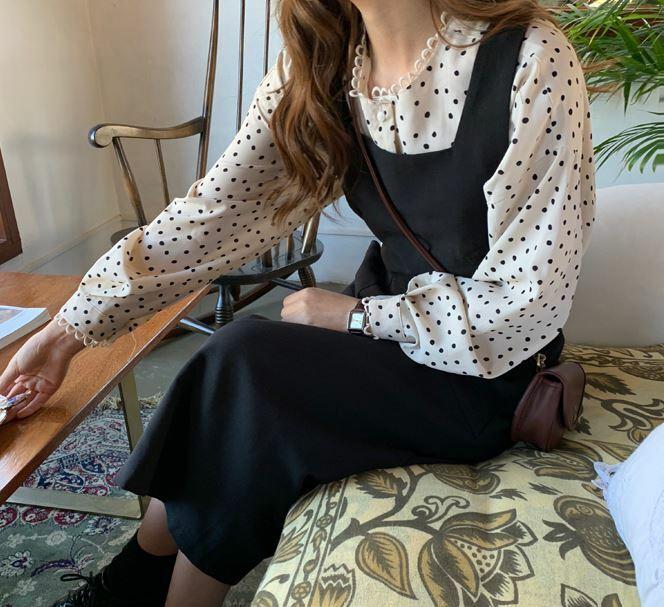 【送料無料】 レトロコーデなセットアップ♡ ドット柄 ブラウスシャツ ロング丈 ワンピース ジャンパースカート