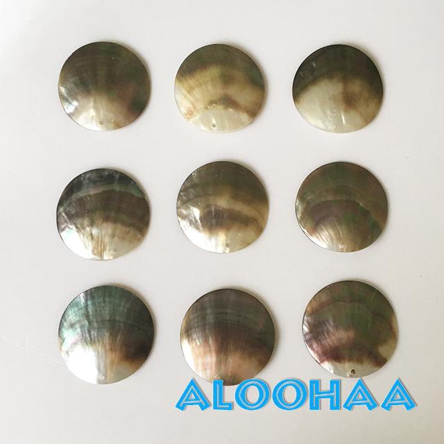 黒蝶貝 4cm MOP 5個セット ブラックパール シェル 穴あり